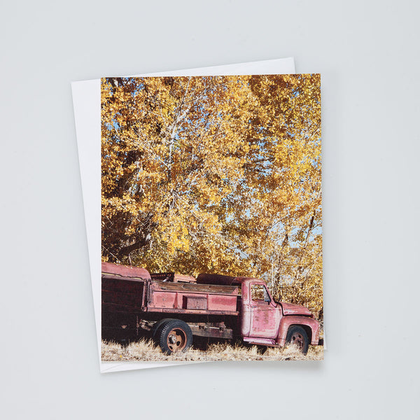 A2 Flat Card: Red Truck in Fall