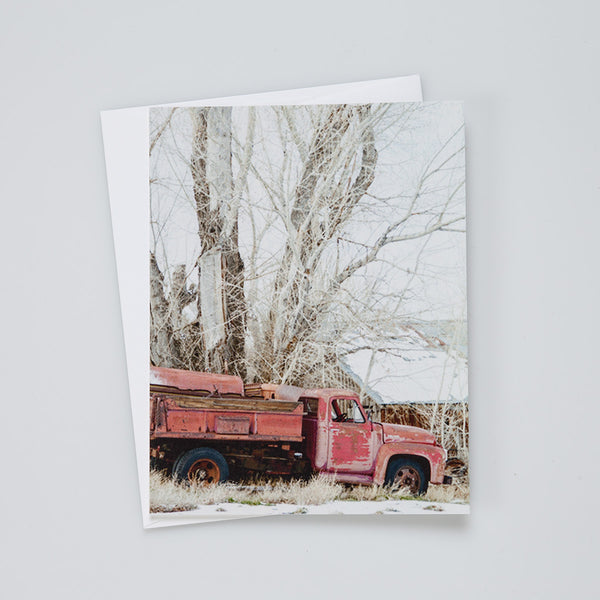 A2 Flat Card: Red Truck in Winter