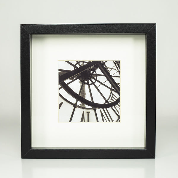 9 x 9 framed photograph: Clocks