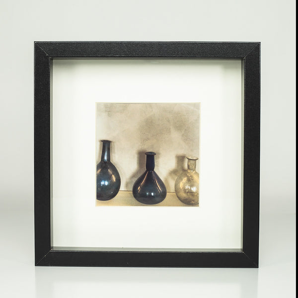 9 x 9 framed photograph: Beautiful Bottles