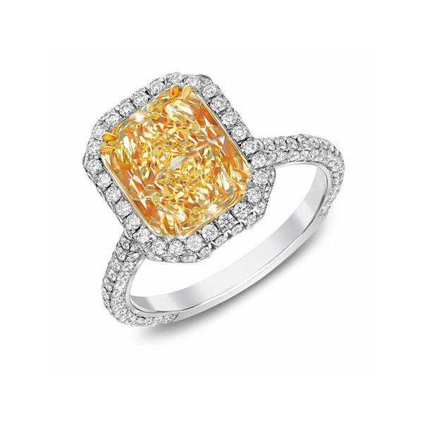 Charlotte Fancy Yellow Radiant Cocktail Ring
