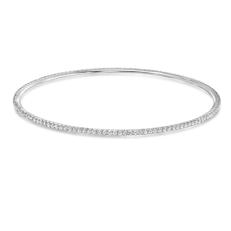 Isabelle White Gold French Pave Bangle
