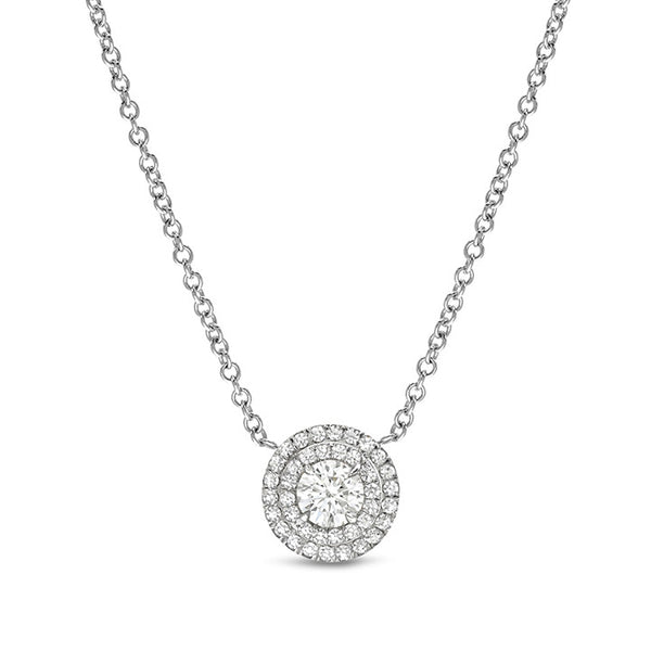 Cora Two Row Pave Border Pendant