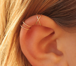Criss cross Set Of Three: ear climbers and two ear cuff