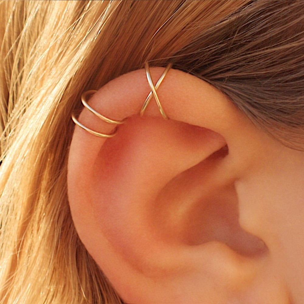 Cris cross ear cuff, Set of two