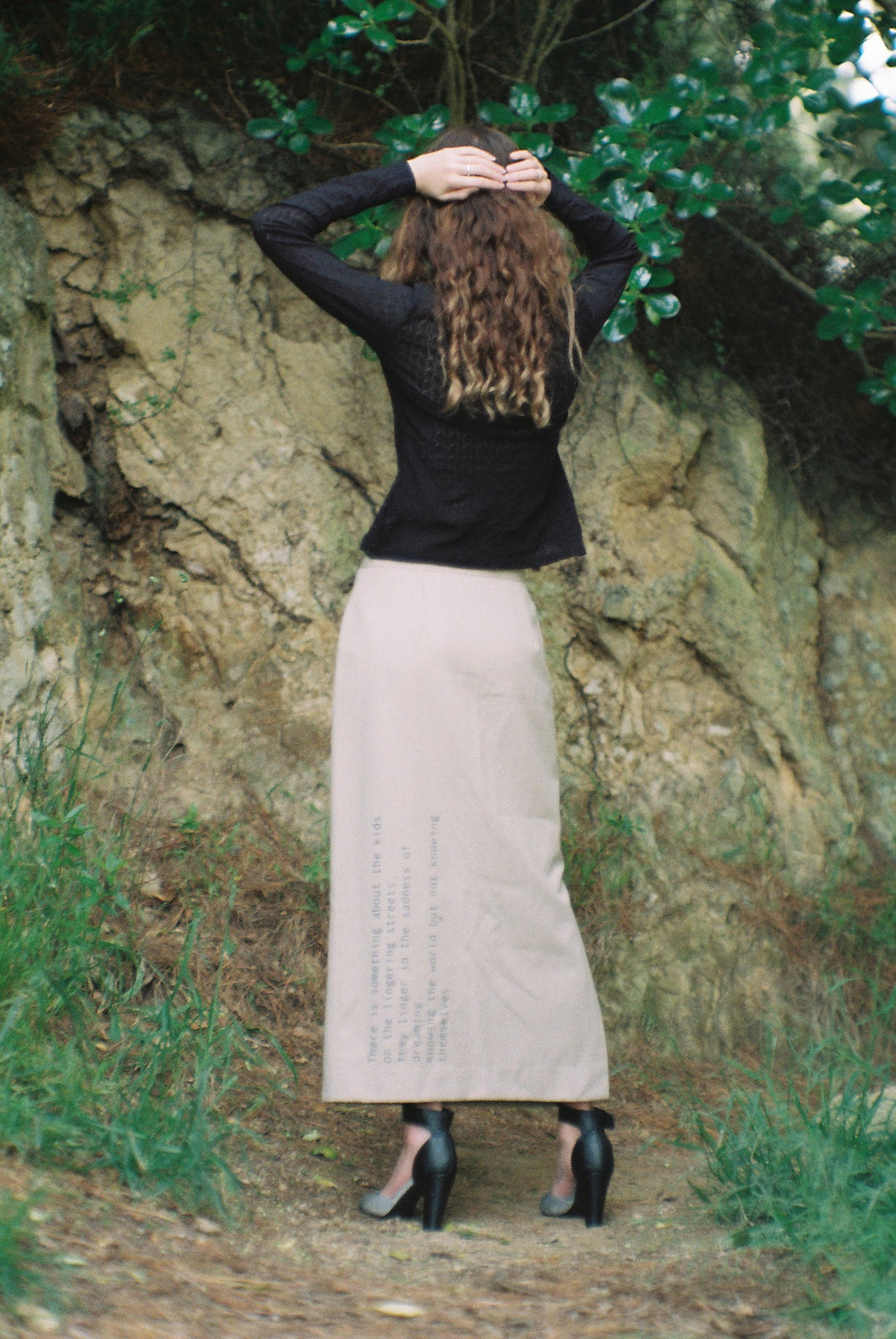 Word Skirt (Beige, Blue Print)