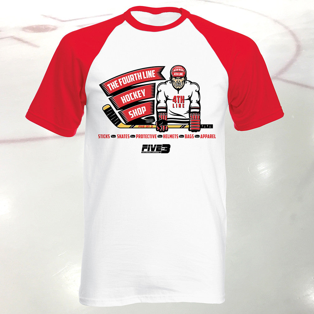 Fourth Line Hockey Shop Banner Base Ball Style Short Sleeve Tee