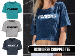 Basic Logo Acid Washed Cropped Tee