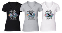 Aloha Hockey ladies fashion vee neck t shirt