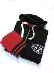 Bargain Zip up varsity hoody Black/Red XL