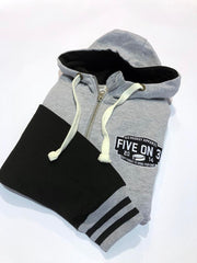 Bargain Zip up varsity hoody Heather Grey/Black XL