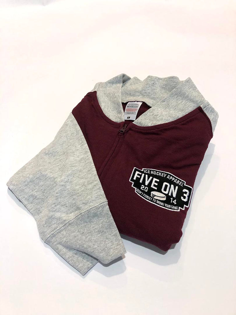 Bargain Zip up baseball jacket Burgundy/Heather Grey XL