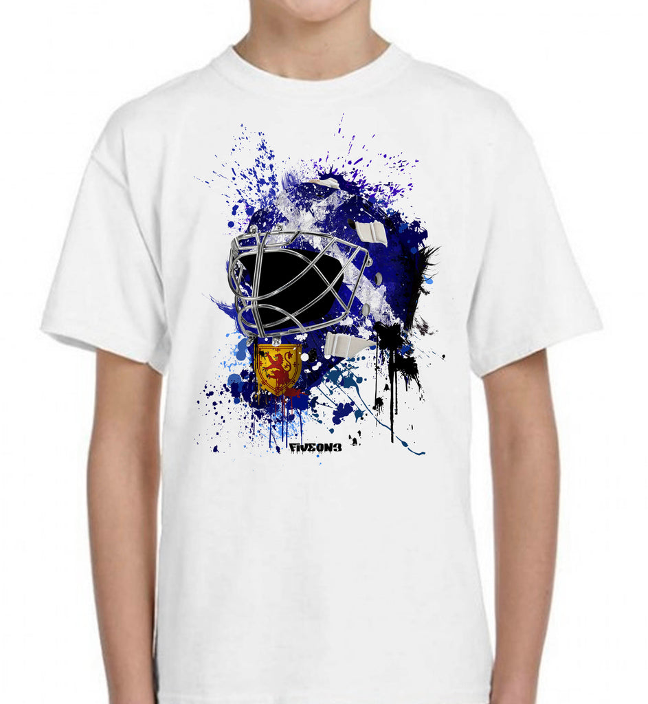 Scotland Splat Attack Goalie Mask Kids Tee