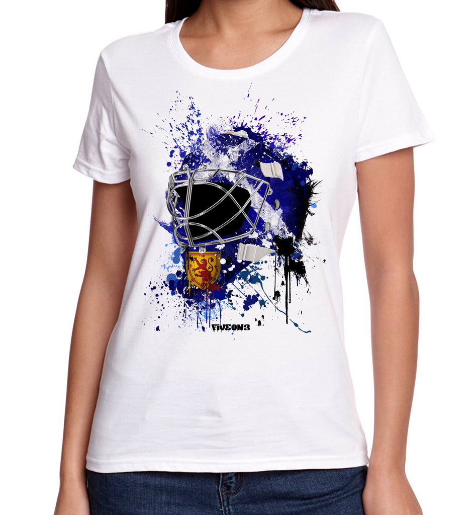 Scotland Splat Attack Lady Fit Goalie Mask Tee