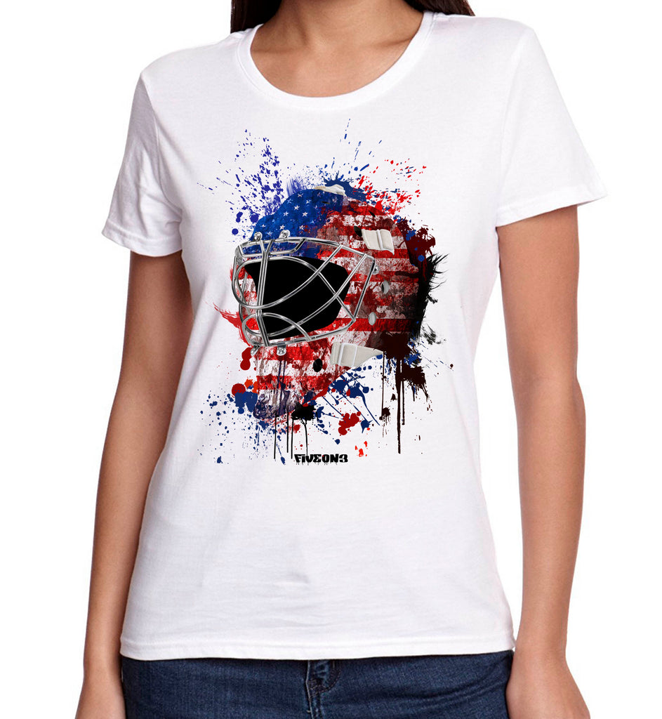 USA Splat Attack Lady Fit Goalie Mask Tee