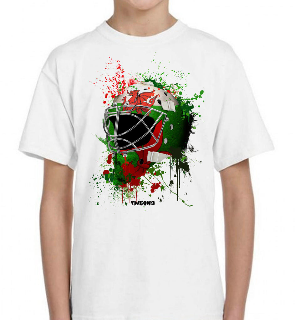 Wales Splat Attack Goalie Mask Kids Tee