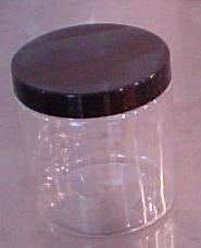 Clear 8 oz PET Jar with Black or White Lid