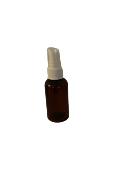 Amber 2oz PET bottle with white spray