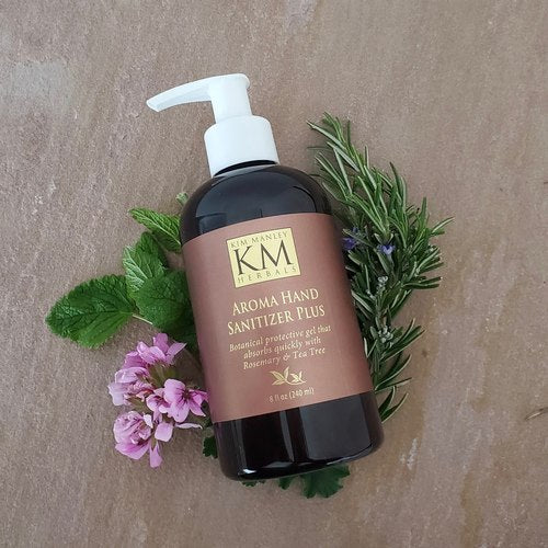 KM Herbals Aroma hand sanitizer plus 8 oz pump