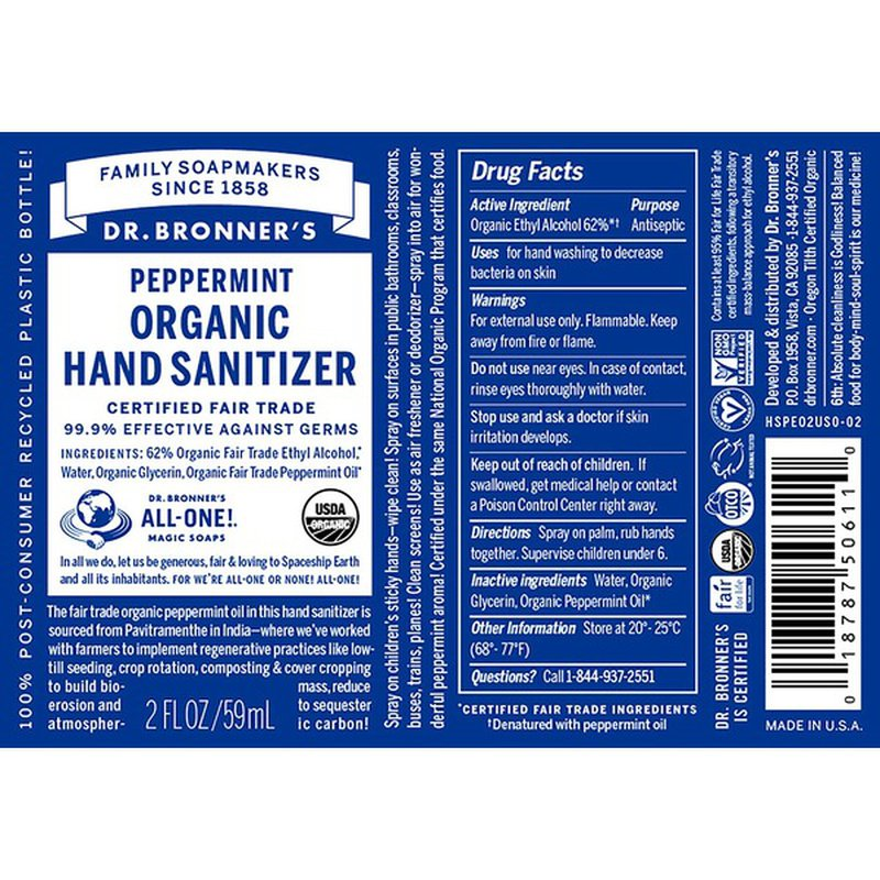 dr. bronner's peppermint 2oz hand sanitizer spray