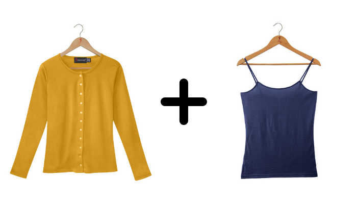 SilkLiving Saffron and Navy clothing