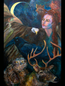 The Crone And Her Familiars - Glass Print