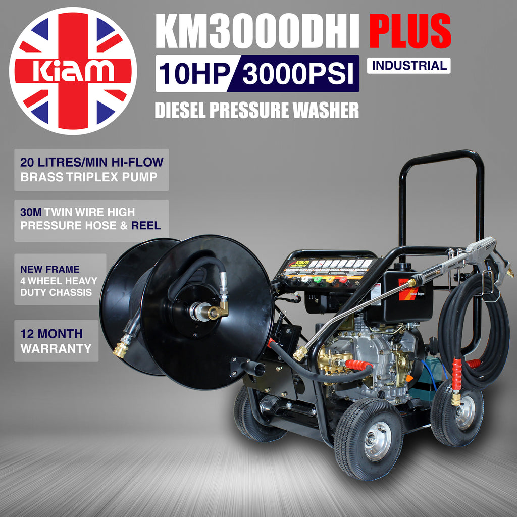 Kiam KM3000DHI PLUS (HIFLOW) Industrial Diesel Pressure Washer (10HP) with 30m Hose Reel