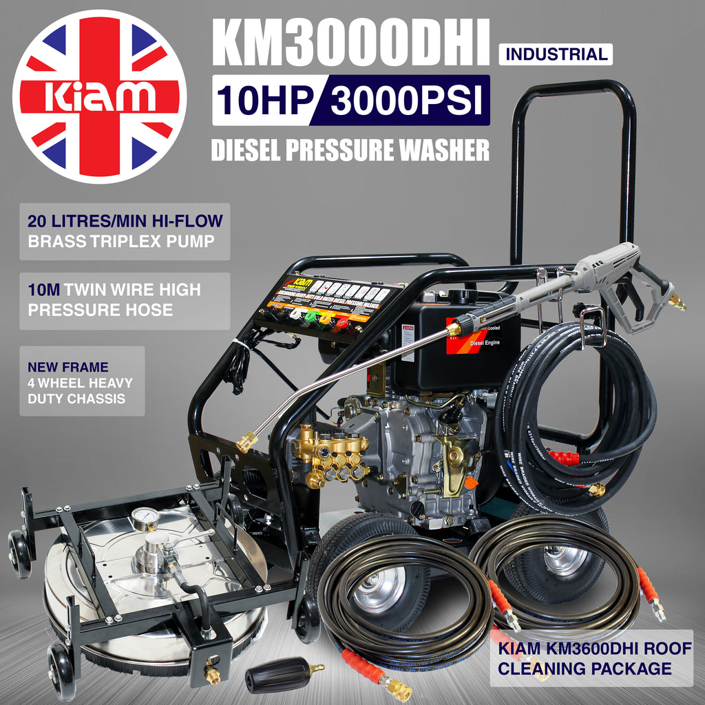 Kiam KM3000DHI (HI-FLOW) Diesel Pressure Washer, Stainless Steel Rotary Roof Cleaner, Turbo Nozzle and 2 x 10M Heavy Duty Extension Hoses