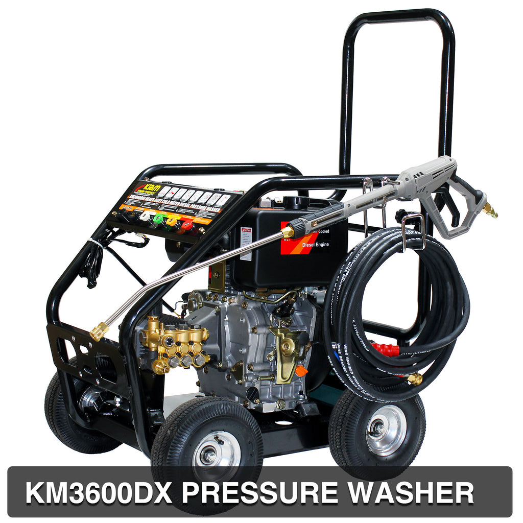 Roof Cleaning Pack - KM3600DXR (Gearbox) Diesel Pressure Washer, Stainless Steel Rotary Roof Cleaner, Turbo Nozzle and 2 x 10M Heavy Duty Extension HosesR