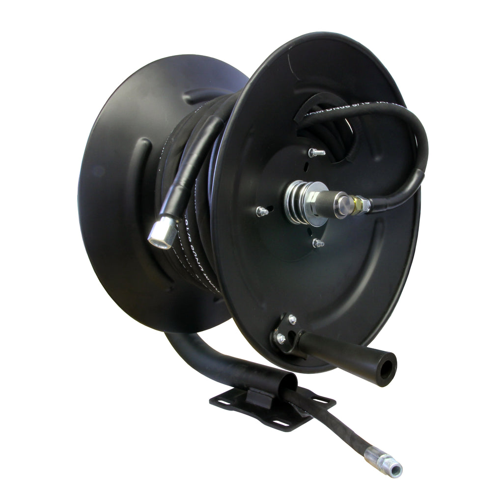 "High Pressure Hose Reel Fixed Base with Heavy Duty 5/16"" Rubber Hose"