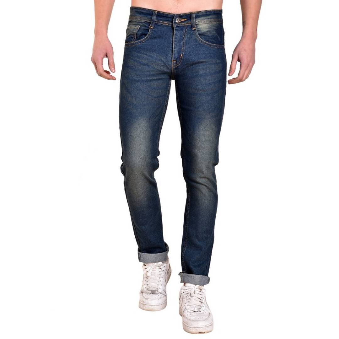 Men's Blue Cotton Spandex Faded Regular Fit Mid-Rise Jeans