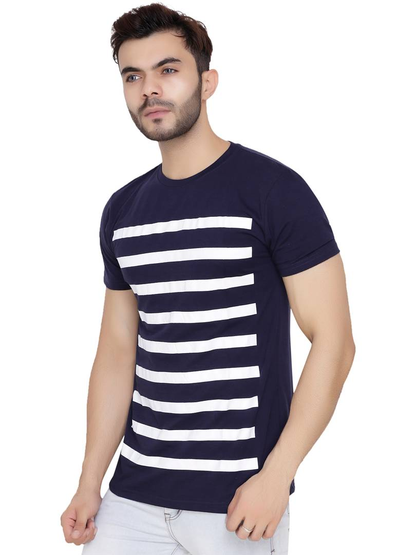 Men's Multicoloured Cotton Blend Striped Round Neck Tees