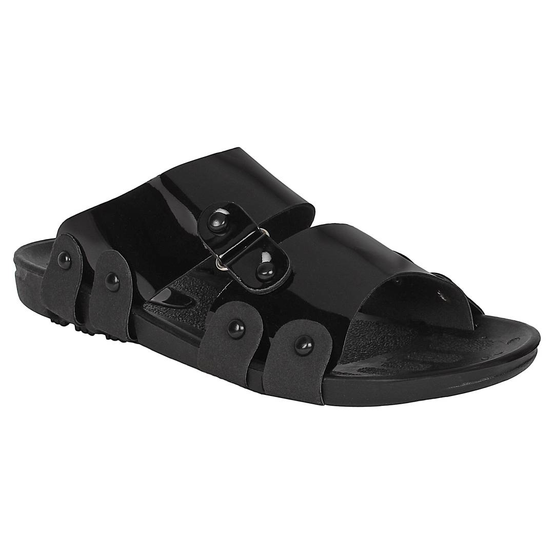 Men Black Solid Synthetic Patent Casual Trendy Sandals