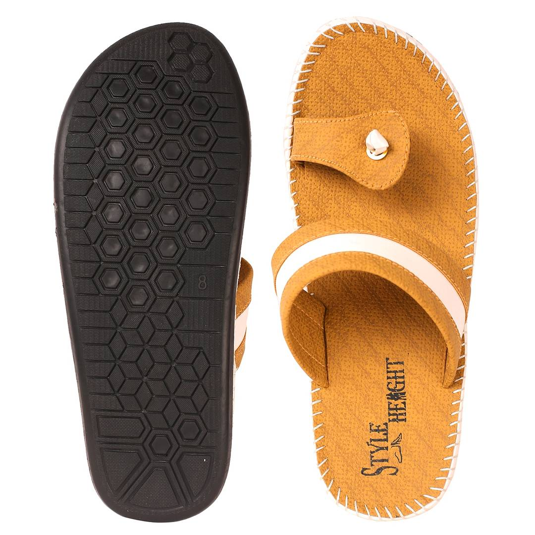 Stylish Synthetic Suede Yellow Sandal For Men
