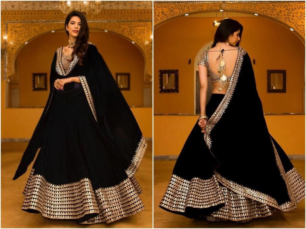 Xoofi fashion -  Black Embroidered Attractive Party Wear Lehenga