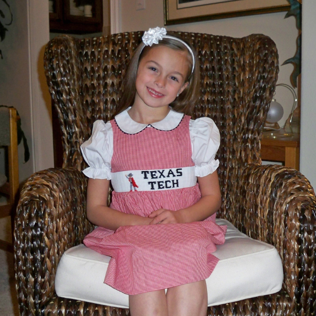 Texas Tech University Vive La Fete Collegiate Hand Smocked Gingham Jumper with Blouse