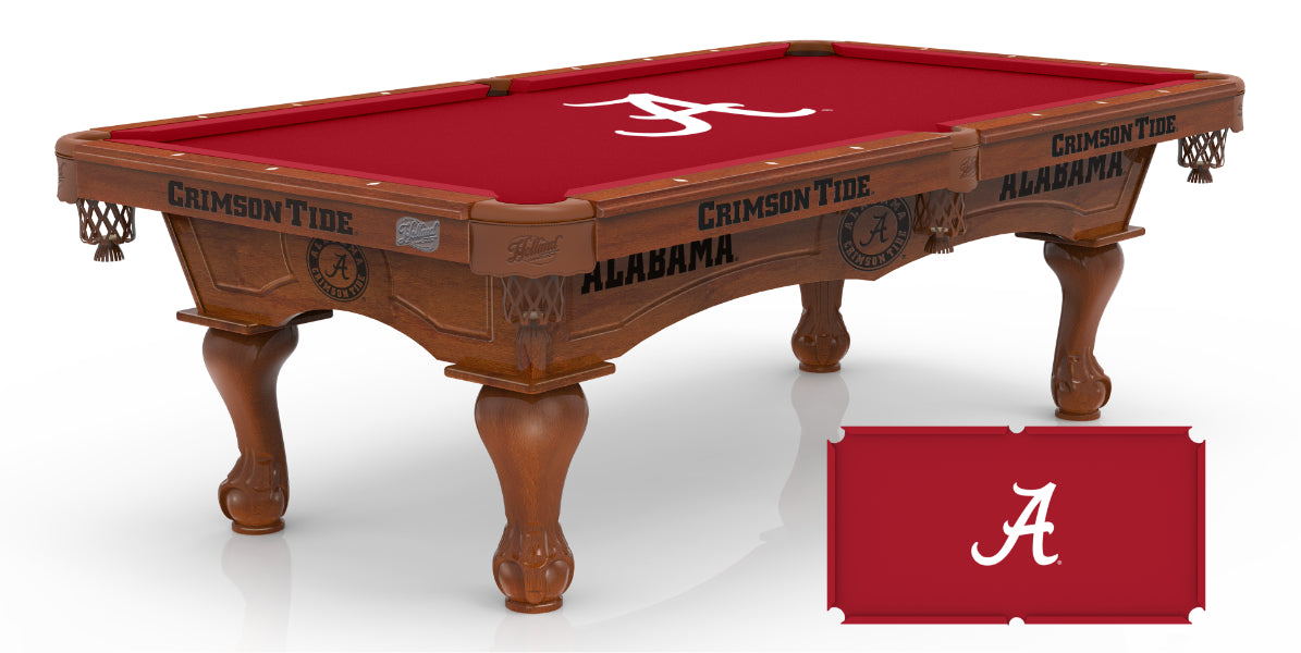 University of Alabama Pool Table with Logo Cloth