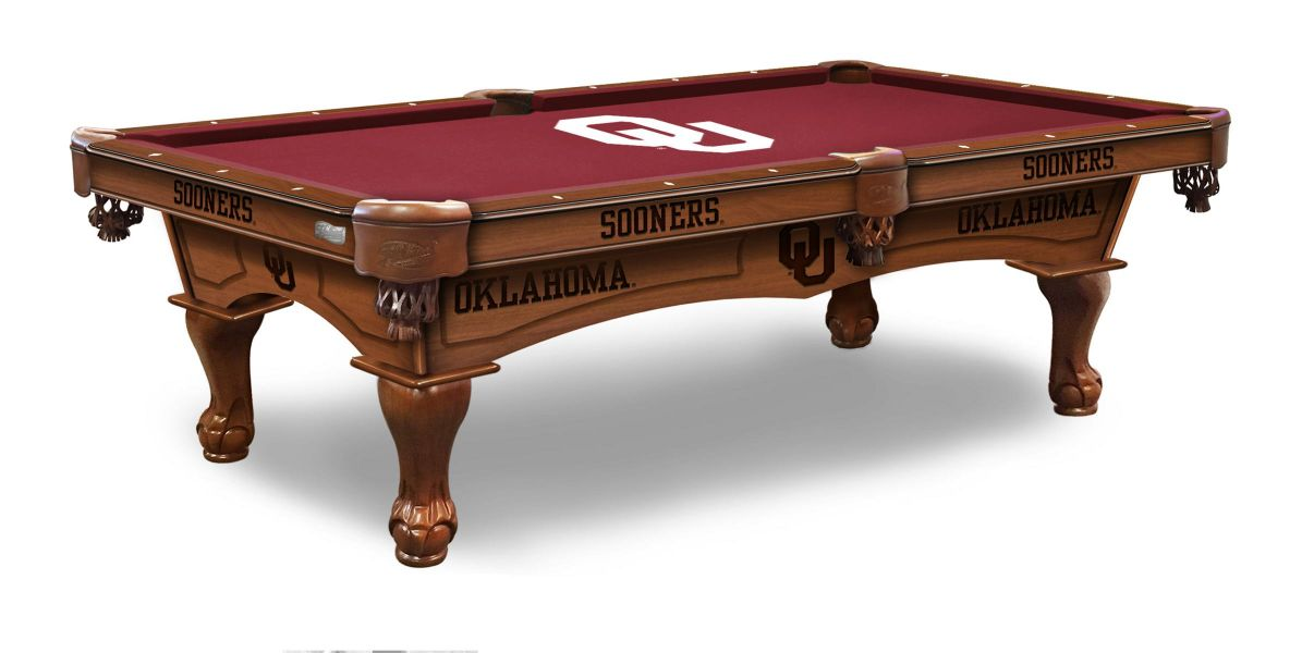 University of Oklahoma Pool Table with Logo Cloth