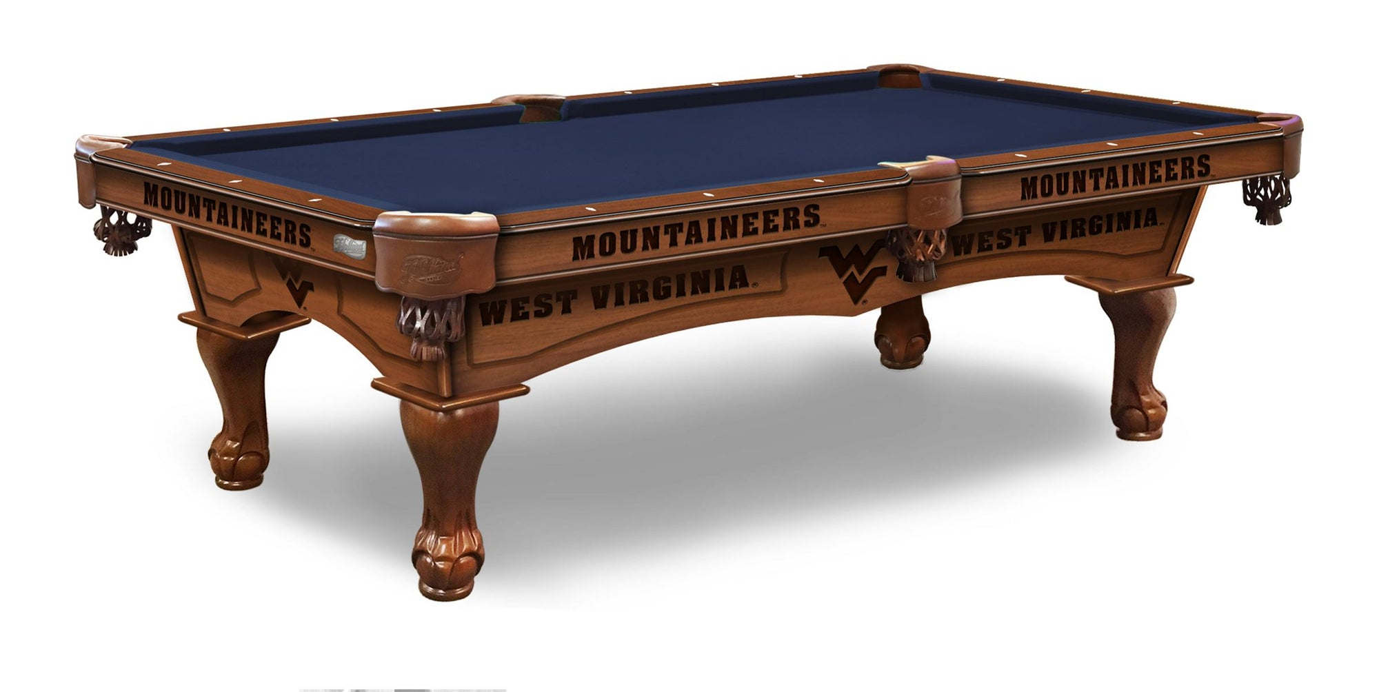 West Virginia University Pool Table with Plain Cloth