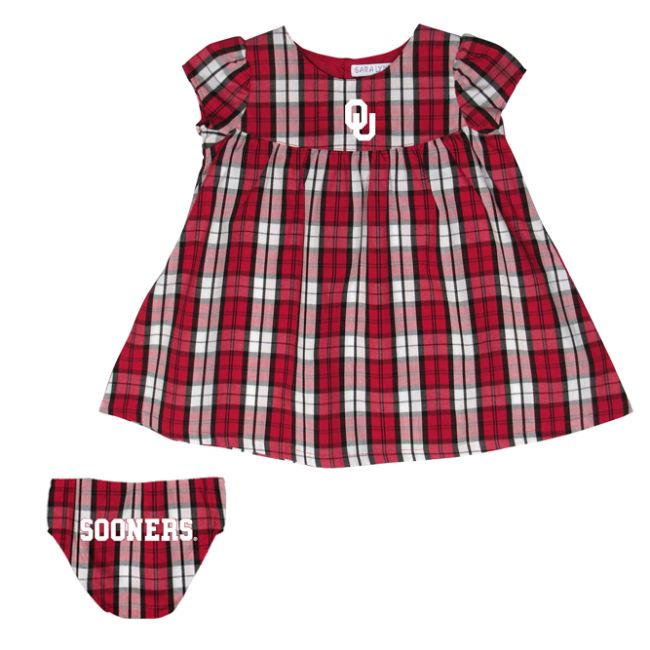 University of Oklahoma Campus Plaid  Dress with Bloomers