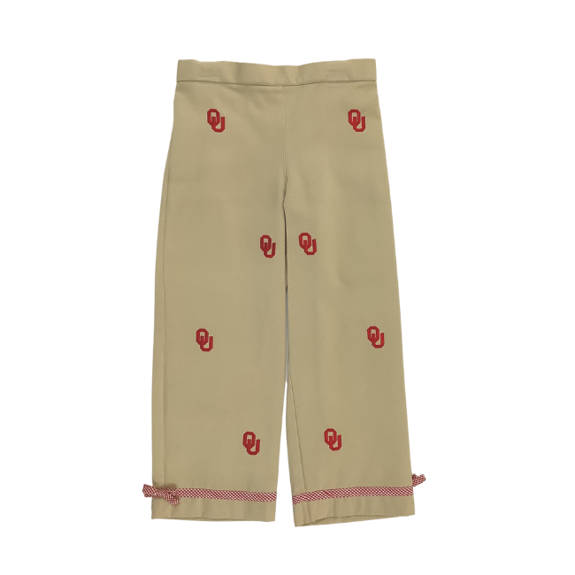 University of Oklahoma Vive La Fete Collegiate Hand Embroidered Girls Pants