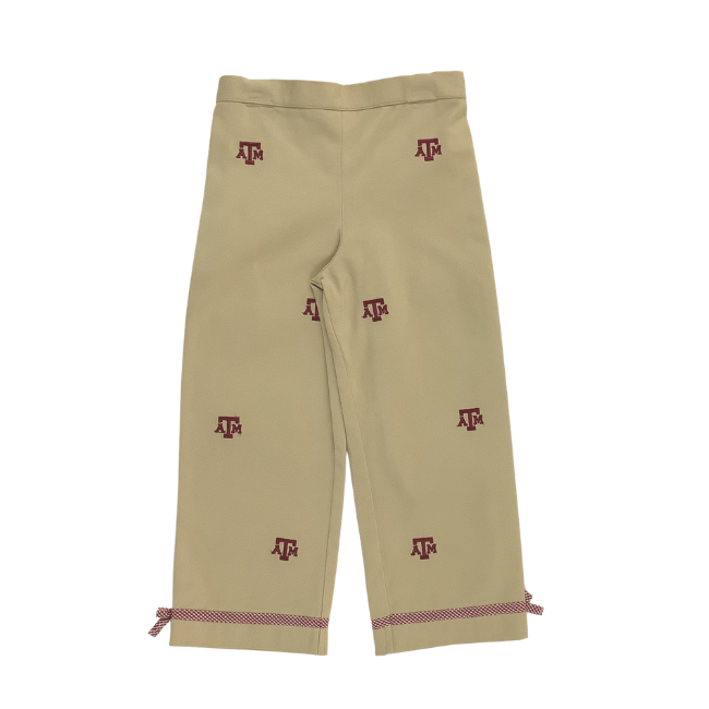 Texas A&M University Vive La Fete Collegiate Hand Embroidered Girls Pants