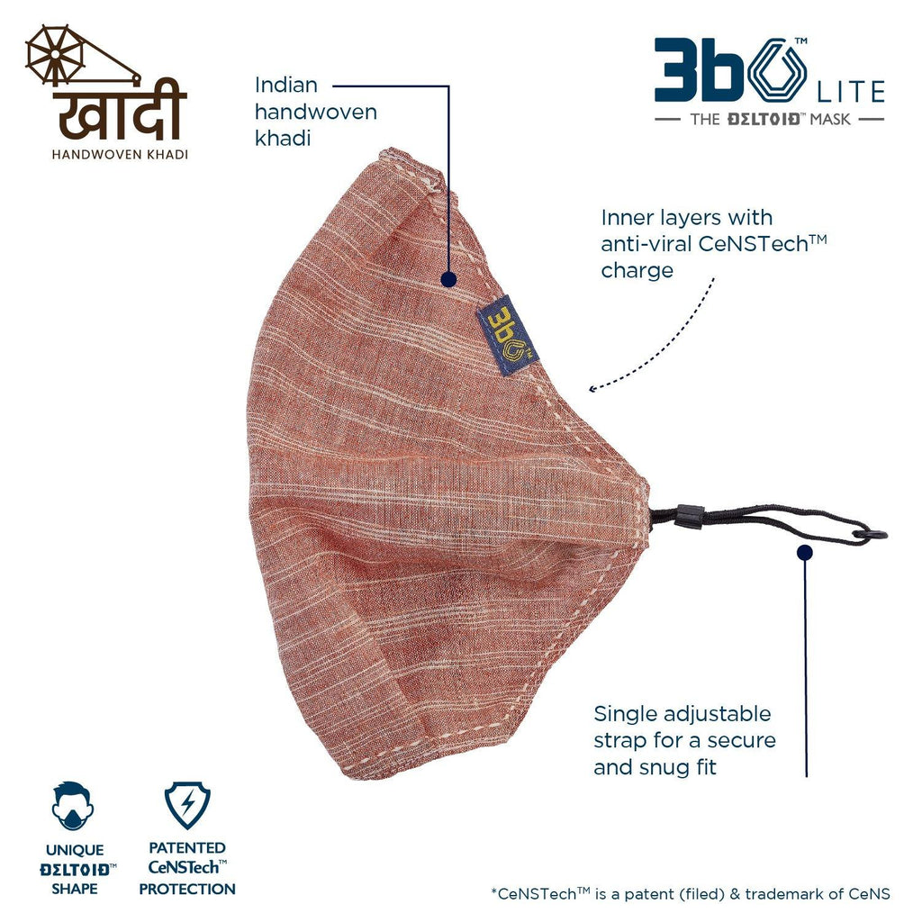 3bO Deltoid Lite  face mask in Khadi Brown fabric  - Pack of 1
