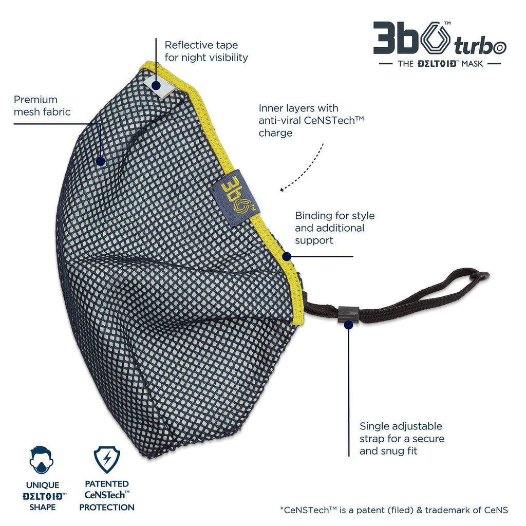 3bO Deltoid Turbo face mask in Navy mesh with Yellow binding - Pack of 1