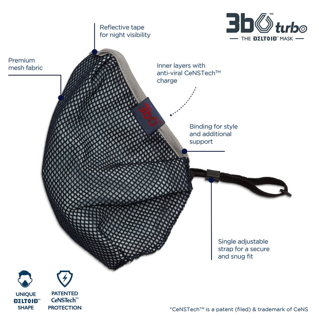 3bO Deltoid Turbo face mask in Navy mesh with Grey binding - Pack of 1