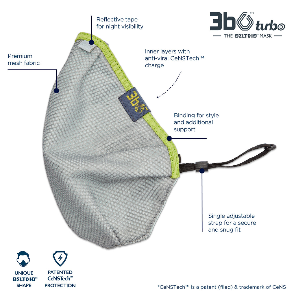 3bO Deltoid Turbo face mask in Grey mesh with Green binding - Pack of 1