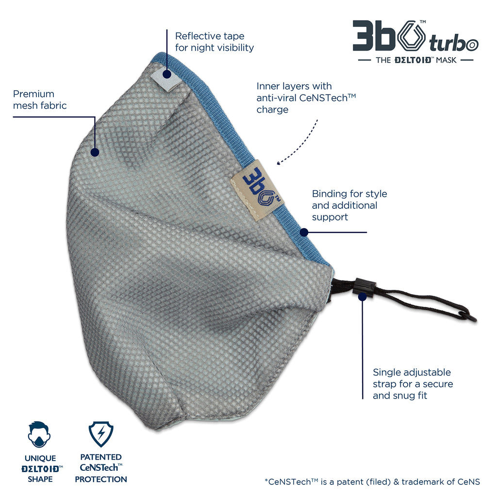 3bO Deltoid Turbo face mask in Grey mesh with Blue binding - Pack of 1