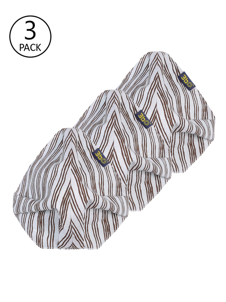 3bO Deltoid Striped face masks in Cool Linen fabric - Pack of 3
