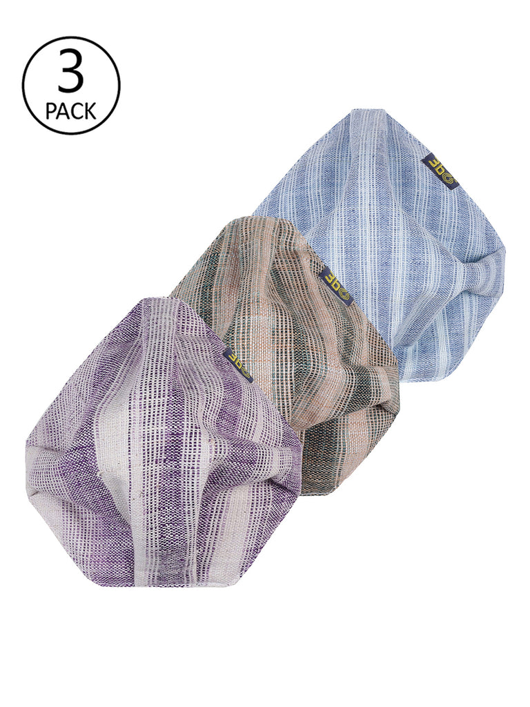3bO Deltoid Khadi face masks in Lilac, Blue and Brown striped fabrics - Pack of 3 (assorted)