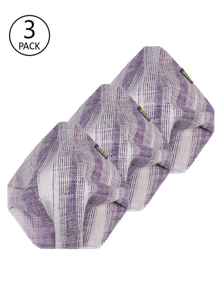 3bO Deltoid Khadi face masks in Lilac striped fabric - Pack of 3